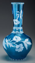 Glass, A Thomas Webb-Style Overlay Glass Floral Vase with Martelé, circa 1890. 11-3/4 inches high (29.8 cm). ...