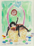 Fine Art - Work on Paper:Watercolor, LeRoy Neiman (American, 1921-2012). Femlin, Happy Easter,1978. Watercolor and pencil on paper. 23-3/4 x 17-3/4 inches (...