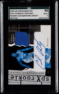 Basketball Cards:Singles (1980-Now), 2003 SPx Carmelo Anthony Rookie Autographed Jersey Card #153 SGC 96 Mint 9....