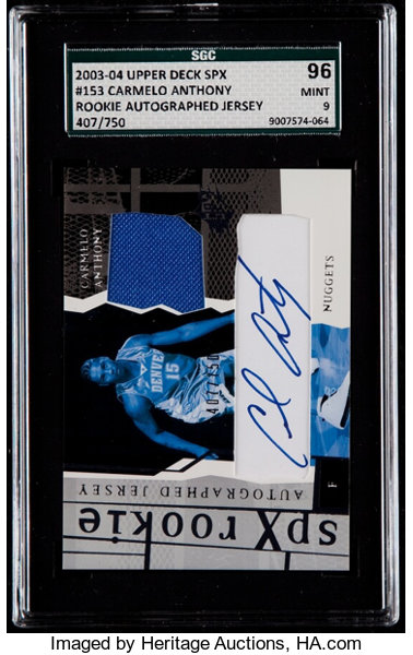 buy popular df111 ddc50 2003 SPx Carmelo Anthony Rookie Autographed Jersey Card #153 ...