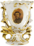 Antiques:Decorative Americana, Rare Civil War Vase With Portrait of John C. Frémont who was one ofthe central American historical figures of the mid-19th ...