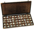 Antiques:Decorative Americana, 19th Century Case of Sample Glass Eyes. In the 19th century when aperson lost an eye due to infection, gunshot, or accident...(Total: 50 items)