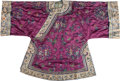 Asian:Chinese, A Chinese Embroidered Silk Brocade Purple-Ground Robe with CourtScenes. 41-1/2 h x 63 w inches (105.4 x 160.0 cm). ...