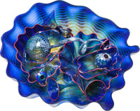 A Large Fourteen-Piece Dale Chihuly Cobalt Blown Glass Seaform Set with Red Lip Wrap