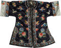 Asian:Chinese, A Chinese Embroidered Dark Blue Silk Robe with Chrysanthemum andMoth Motif. 41 h x 53-1/2 w inches (104.1 x 135.9 cm). ...