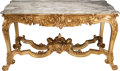 Furniture : French, A Louis XV-Style Carved Giltwood Center Table with Marble Top, 20thcentury. 30-1/2 h x 57 w x 31 d inches (77.5 x 144.8 x 7... (Total:2 Items)