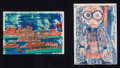 Fine Art - Work on Paper:Print, Friedensreich Hundertwasser (Austrian, 1928-2000). Singing Steamers and Girl with Eyeglasses, Artclub Rotoprint Portfolio...
