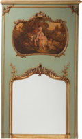 Decorative Arts, French:Other , A Louis XVI-Style Parcel Gilt and Painted Carved Wood TrumeauMirror, late 19th century. 65-1/4 h x 41-1/2 w inches (165.7 x...