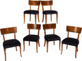 Furniture : Continental, A Set of Six Swedish Mahogany, Satinwood, and Flame Birch DiningChairs, attributed to Mjolby Intarsia, 20th century. 31 inc...(Total: 6 Items)