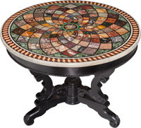 An Italian Micromosaic and Specimen Marble Table Top on Ebonized Wood Pedestal Base, late 19th century with later bas