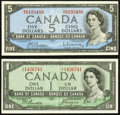Canadian Currency, BC-29b $1 1954 Devil's Face;. BC-39b $5 1954 Modified Portrait....(Total: 2 notes)