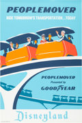 "Animation Art:Poster, Disneyland Park Entrance Poster ""Peoplemover"" Tomorrowland (WaltDisney, 1967)...."