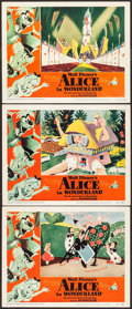 "Movie Posters:Animation, Alice in Wonderland (RKO, 1951). Lobby Cards (3) (11"" X 14"").Animation.. ... (Total: 3 Items)"