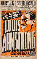 Music Memorabilia:Posters, Louis Armstrong Concert Poster (Joe Glaser Presents,1937), Rare....