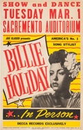 Music Memorabilia:Posters, Billie Holiday Concert Poster (Joe Glaser Presents, 1949),Extremely Rare....
