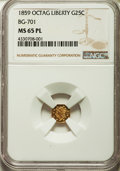 California Fractional Gold , 1859 25C Liberty Octagonal 25 Cents, BG-701, Low R.6, MS65Prooflike NGC....