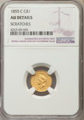 Gold Dollars, 1855-C G$1 -- Scratches -- NGC Details. AU. Variety 2....