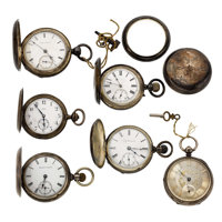 Six Coin Silver Pocket Watches & Silver Back Cover & Bezel