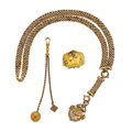Timepieces:Watch Chains & Fobs, Gold Filled Chain & Watch Fob, 14k Gold Pin and Watch Fob. ...(Total: 3 Items)