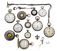 Fourteen Miscellaneous Silver Watch Items