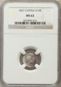Bust Half Dimes, 1837 H10C Large 5C MS62 NGC. NGC Census: (15/82). PCGS Population (23/56). Mintage: 871,000. Numismedia Wsl. Price for prob...