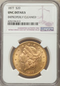 Liberty Double Eagles: , 1877 $20 -- Improperly Cleaned -- NGC Details. UNC. NGC Census: (198/438). PCGS Population (135/391). Mintage: 397,670. Num...