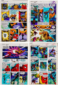 Memorabilia:Miscellaneous, Jim Starlin and Joe Rubinstein Marvel Two-in-One Annual #2 Pages 24-27 Color Guide (Marvel, 1977).... (Total: 4 Items)