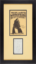 Music Memorabilia:Autographs and Signed Items, Janis Joplin Signature/Cal Expo Handbill Framed Display (1969)....