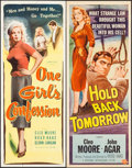 "Movie Posters:Bad Girl, One Girl's Confession & Other Lot (Columbia, 1953). Inserts (2) (14"" X 36""). Bad Girl.. ... (Total: 2 Items)"