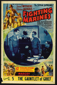 "The Fighting Marines (Mascot, 1935). One Sheet (27"" X 41"") Episode 5 -- ""The Gauntlet of Grief."" Ser..."