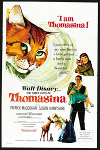 "The Three Lives of Thomasina (Buena Vista, 1964). One Sheet (27"" X 41""). Family"