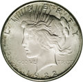 Peace Dollars: , 1922-S $1 MS66 NGC. Fully lustrous with frosty silver surfaces andlight peripheral iridescen...