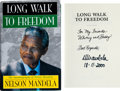 Music Memorabilia:Autographs and Signed Items, Whitney Houston's Personal Copy of Long Walk to FreedomSigned and Inscribed by Nelson Mandela, 2000....