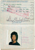 Music Memorabilia:Autographs and Signed Items, Whitney Houston - Early US Passport Signed, 1985....