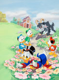 Animation Art:Production Drawing, Disney's DuckTales the Magazine Uncle Scrooge Huey, Dewey,and Louie Painted Illustration (Walt Disney, 1990)....
