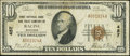 National Bank Notes:Wisconsin, Racine, WI - $10 1929 Ty. 1 First NB & TC Ch. # 457. ...