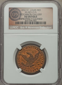 1850 St. Louis, MO, Fitzgibbon Gallery, Miller MO-21A -- Improperly Cleaned -- NGC Details. AU