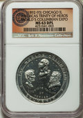 Expositions and Fairs, 1893 World's Columbian Exposition, Trinity of Heroes MS63 DeepProoflike NGC. Cunningham-20-110A. ...
