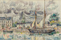 Fine Art - Work on Paper:Watercolor, Paul Signac (French, 1863-1935). Le port de Paimpol, 1924.Watercolor and pencil on paper. 12 x 17-7/8 inches (30.5 x 45...