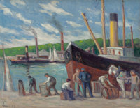 Maximilien Luce (French, 1858-1941) Honfleur, remorqueur à quai, 1929 Oil on canvas 20-1/8 x 25-5