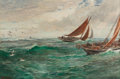Fine Art - Painting, European:Antique  (Pre 1900), Charles Napier Hemy (British, 1841-1917). In the track of the trawlers. Oil on canvas. 36 x 54 inches (91.4 x 137.2 cm)...