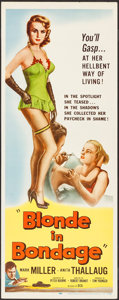 "Movie Posters:Crime, Blonde in Bondage (Distributors Corporation of America Inc., 1957).Insert (14"" X 36""). Crime.. ..."