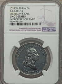 (circa-1869) Dickeson's Safe, Baker-530D, Miller-Pa-145, Rulau-Pa-Ph-33 -- Improperly Cleaned -- NGC Details. Unc