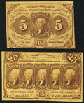 Fractional Currency:First Issue, 5¢ and 25¢ First Issue Straight Edge with Monogram Fractionals.. ... (Total: 2 notes)