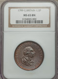Great Britain:Zurich, Great Britain: George III 1/2 Penny 1799-Soho MS65 Brown NGC,...