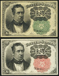 Fractional Currency:Fifth Issue, 10¢ Fifth Issue Green and Red Seals.. ... (Total: 2 notes)