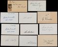 Autographs:Others, Baseball Greats Signed Index Cards and Cut Signatures Lot of 11....
