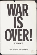 """Movie Posters:Rock and Roll, War is Over! If You Want (John Lennon & Yoko Ono, 1970). Poster(20"""" X 30""""). Rock and Roll.. ..."""