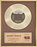 "Music Memorabilia:Awards, Whitney Houston CRIA (Canadian) ""Gold"" Record Award for ""GreatestLove of All"", 1986...."