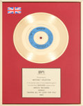 "Music Memorabilia:Awards, Whitney Houston BPI (British) Gold Sales Award for ""Saving All My Love For You,"" 1985. ..."